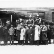 1936 fire engine and men pose with local dignateries