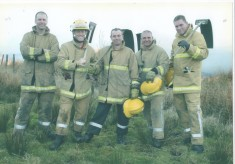 White Watch taking time out from a grass fire