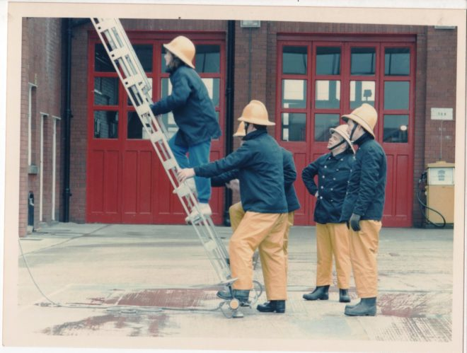 a bit of ladder drill ,putting it up going up it then taking it down in any career done thousands of times