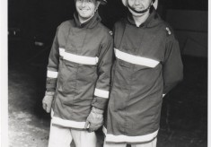 1991 Two officers taking time out from observing drill