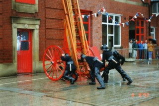 Demonstration of restored 50ft Wheeled Escape at  1992 Open Day | steve brown photographer