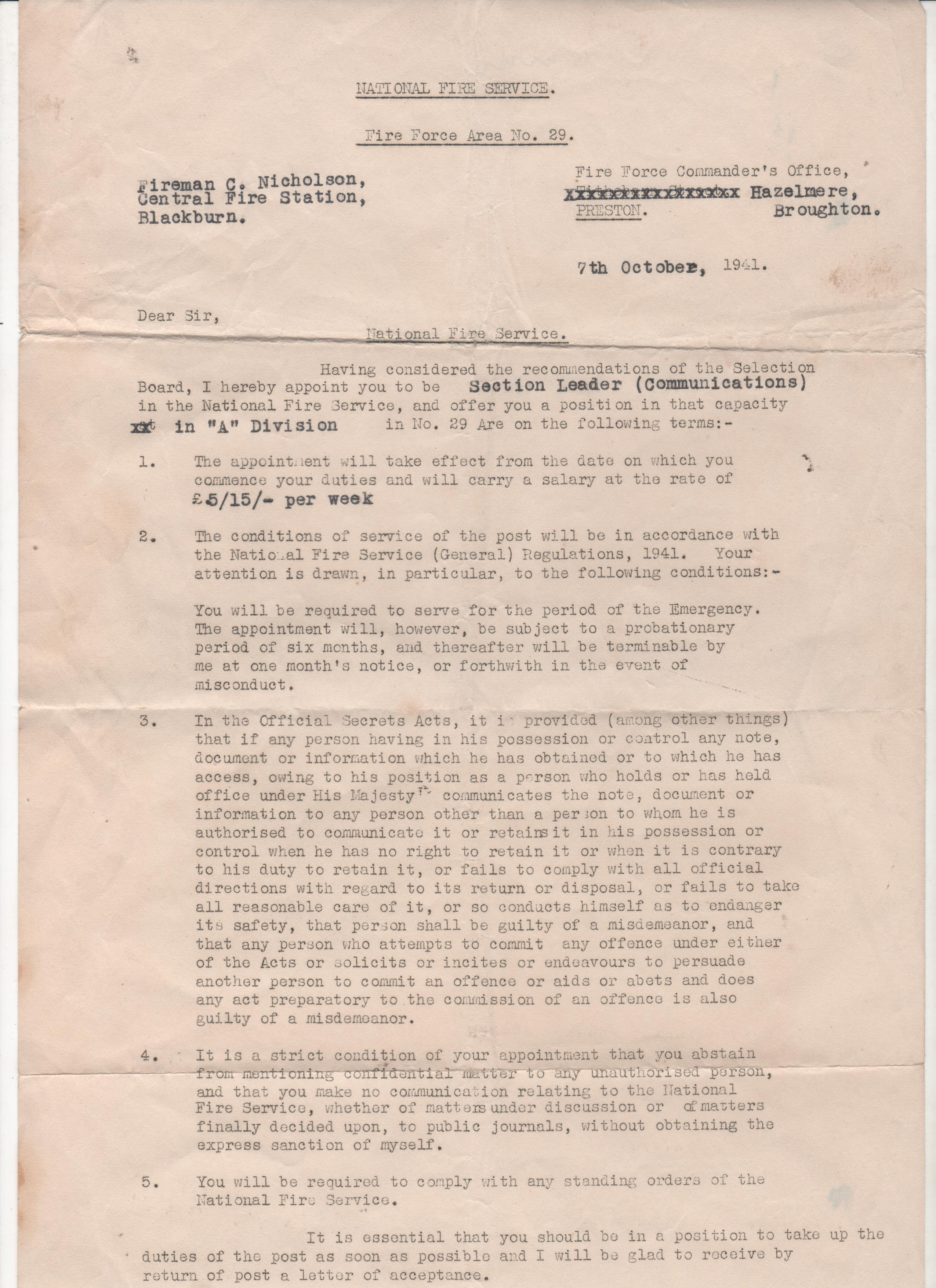 Appointment of Section Leader 1941 | | Blackburn Fire History