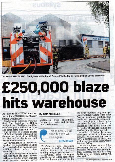 £250,000 Blaze Hits Warehouse  2011