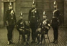 Police firemen pose for picture