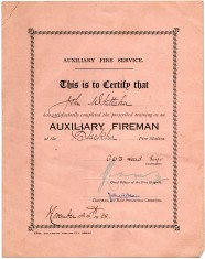 Certificate ,Completion Of Training As Auxiliary Fireman