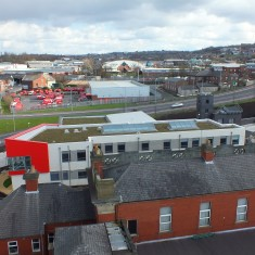 The view of the new Fire Station from the top of the old Fire Station Tower.