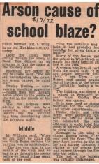 Bank Top School Fire 1972