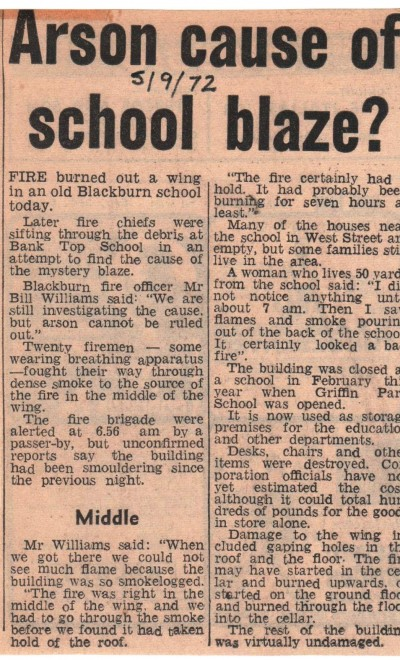 Bank Top School Fire 1972
