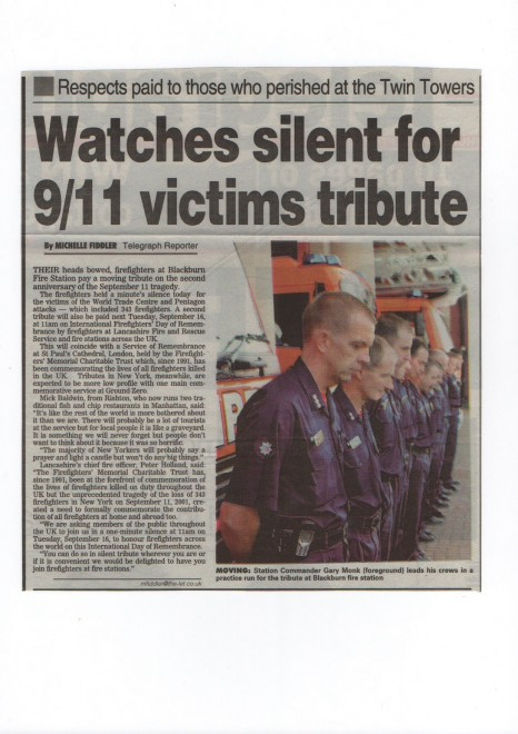 Tribute To 9/11 Outside Fire Station