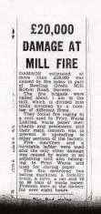 Bowling Green Mill , Bolton Road Darwen Fire