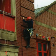 first part showing the rope rescue team climbing the tower