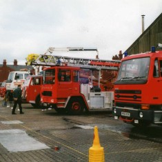 view of some of the fire engines on the yard note the white vehicle belonging to Cross Recovery who would attend where a vehicle needed removing