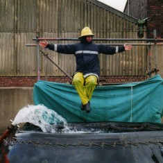 Steve Houldsworth taking his turn at duck the fireman