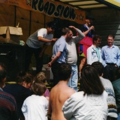 Steve Mountain taking part in the radio roadshow on the station yard