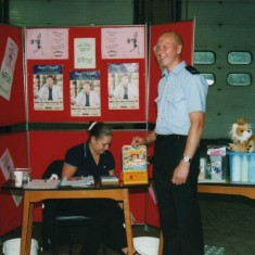Jim Sheridan helps promote the good health stall along with a nurse