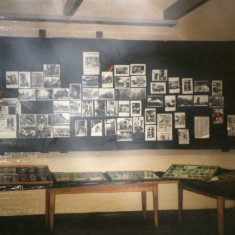 more photo display boards and note on the tables fire service badges from around the world loaned to us by Colin Cunliffe