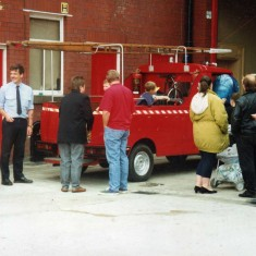another view of the kids fire engine loaned to us by Barnoldswick fire station here Steve Horrocks picking up passengers and Niel Fuller and  Kevin Murray helping