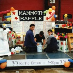 heres Martin Biscombe and Marie Fairbrother and helper sorting out the mammoth raffle with hundreds of prizes