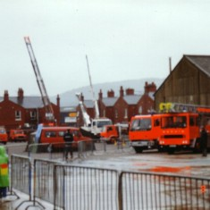 more views of yard full of appliances with the fencing stopping people being hurt during the shows