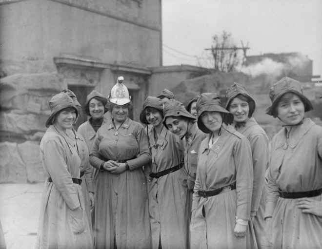 1916, Members of the Woman's Fire Brigade with their chief officer.