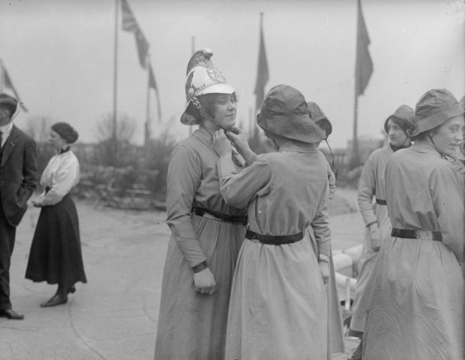 1916, Preparing for a fire drill.