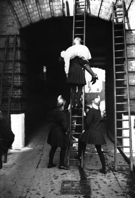 1928, A rescue drill in progress