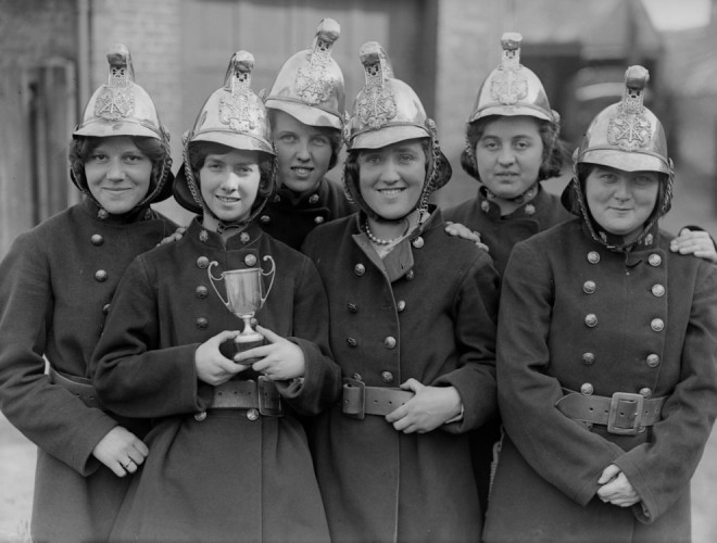 1930, Staff of the Girls Fire Brigade in Berkshire.
