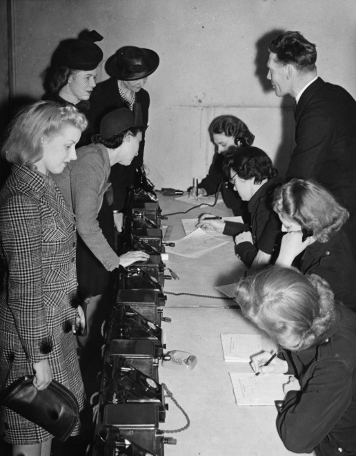 1941, New recruits in the control room at London's Auxiliary Fire Service.