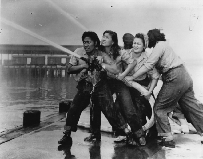 1941, Women train at the Pearl Harbor Naval Shipyard during WWII.