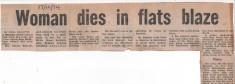 Woman Dies In Flats Blaze 1974