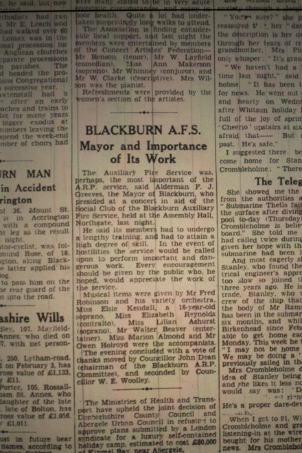 Blackburn A.F.S., Mayor And Importance Of It's Work