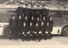 Blackburn Firemen Pose In Front Of TurnTableLadder