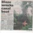 Blaze Wrecks Canal Boat