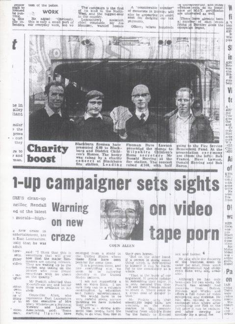 Charity Boost From The Firemen Of Blackburn