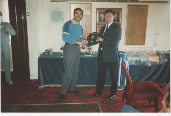 Paul Gardner being presented a shield by D.O Jim Chappel